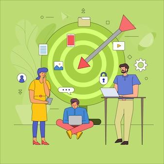 대상 고객의 비즈니스 산업을 구축하는 팀워크. 아이콘 그래픽 스타일 라인 만화. 설명합니다.
