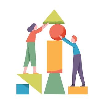 Of teamwork builds geometric shapes