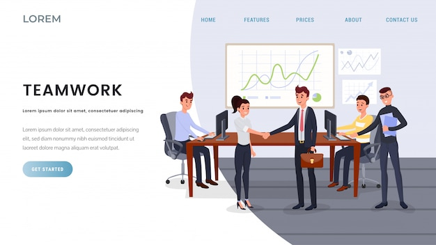 Teamwork, business coaching landing page template