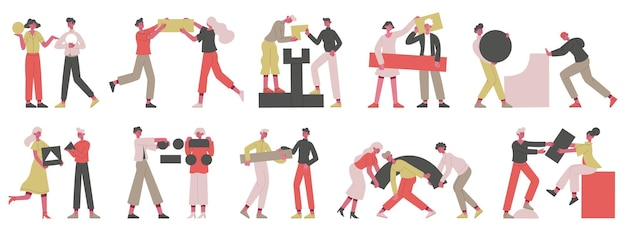 Teamwork business concept. people geometric shape, business coworkers collecting figures vector illustration set. partnership and teamwork. character coworking and collaboration, organize and support
