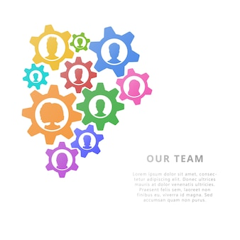 Teamwork business concept with gears. design. flat style vector illustration