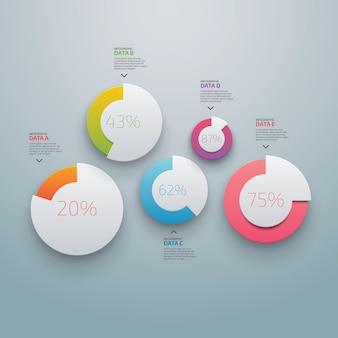 둥근 다채로운 단추 및 백분율이 있는 대화형 투표 옵션이 있는 팀워크 비즈니스 개념