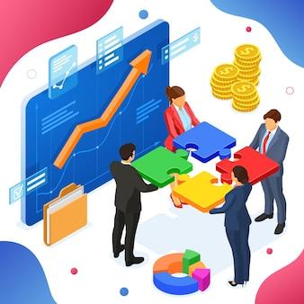 チームワークビジネスの男性と女性。パートナーシップコラボレーション。パズルのインフォグラフィック。成長グラフビジネス分析を備えた仮想画面。 b2bヒーロー画像。等尺性の孤立したベクトル