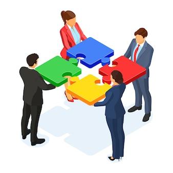 Работа в команде деловых мужчин и женщин