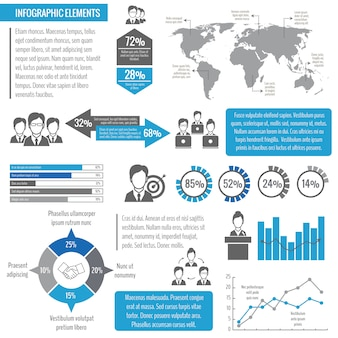 Teamwork business meeting global networking effective management infographic template vector illustration