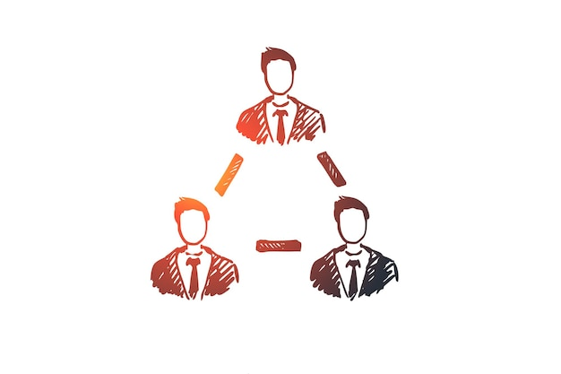 팀워크, 비즈니스, 사람, 협력, 우정 개념. 손으로 그린 사람들 coworking 함께 개념 스케치.