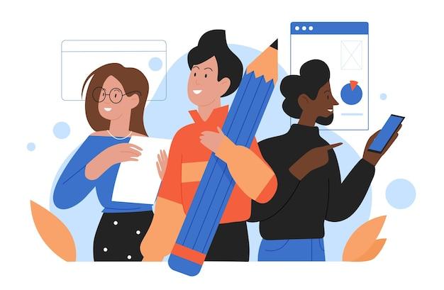 Работа в команде деловых людей команда персонажей офисного работника, стоящих вместе для работы