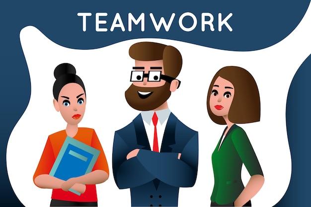 チームワーク。ビジネスマンのチームワーク、人材、キャリアの機会、チームスキル、管理、ウェブサイトのバナーとランディングページのフラットベクトルイラストを接続する人々。チームの比喩。