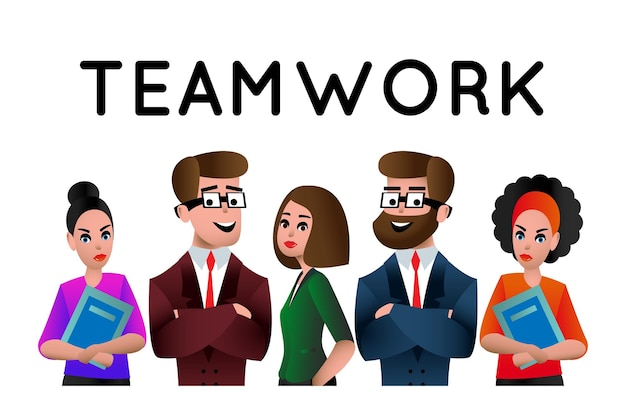 Teamwork. business people teamwork, human resources, career opportunities, team skills, management, people connecting flat vector illustration for website banner and landing page. team metaphor.