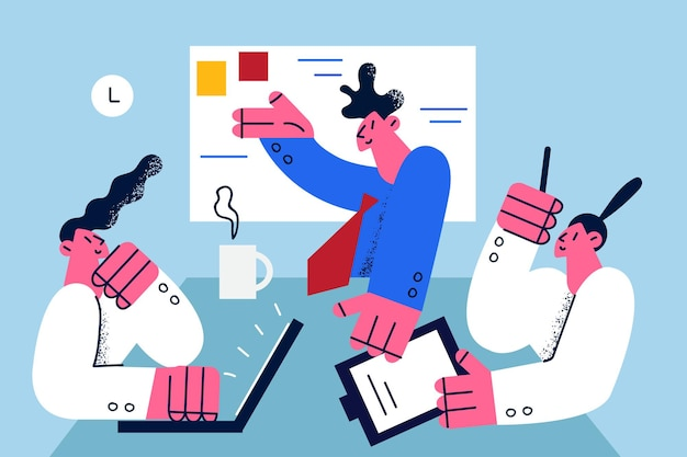 Teamwork business strategy brainstorm concept