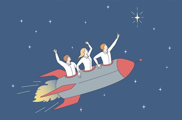 팀워크, 비즈니스 성공 및 개발 개념입니다. 성공과 성취 개념 벡터 삽화를 의미하는 별에 로켓을 타고 있는 젊은 남성 노동자 만화 캐릭터 그룹