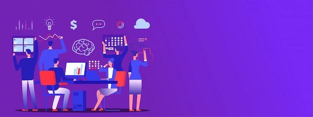 Teamwork, business team brainstorm  copy space banner