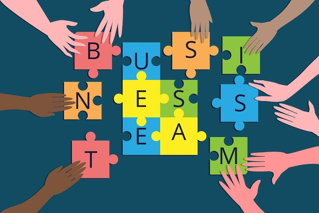 Teamwork and business team building metaphor. colleagues of different races collect jigsaw puzzles as business elements. coworking, collaboration and business partnership concept.