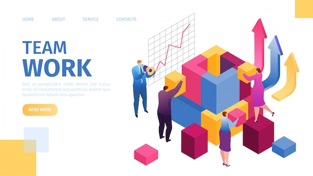 Teamwork in business, team-work leadership qualities in creative team landing webpage template,  illustration. little people businessmen work together, build, corporate achivement.