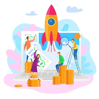 Teamwork cartoon people explore perspective growth