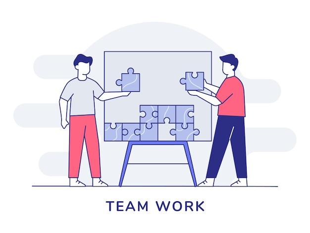 개요 스타일로 보드에 퍼즐 조각을 조립하는 팀웍 캐릭터 사람들의 협업