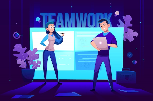 Teamwork characters in front of large glowing screen for presentations on wall.