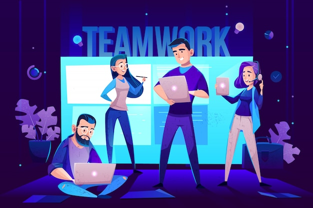 Teamwork characters, operator and crew in front of screen for presentations.