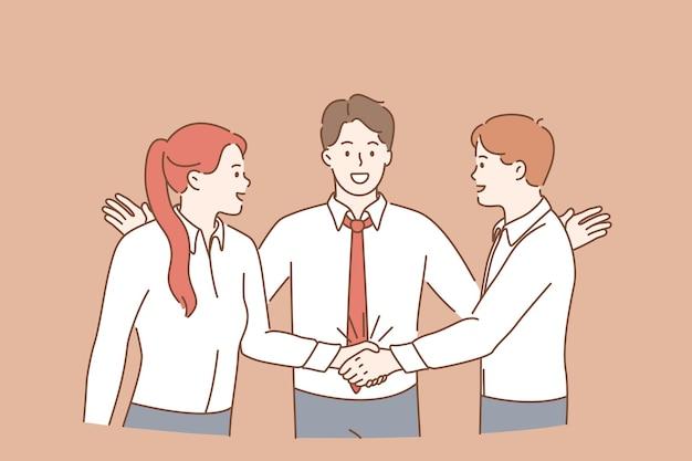 チームワーク、コラボレーション、ビジネスパートナーシップの概念。成功と達成を意味する取引の成功後に握手して立っている若い男性と女性の労働者の漫画のキャラクターのグループ