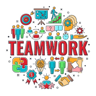 Teamwork or collaboration banner with colored line icons team, goal, inspiration and career. typography infographics concept team work. isolated vector illustration