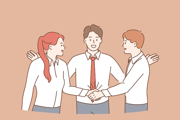 Teamwork, collaboration and business partnership concept. group of young men and women workers cartoon characters standing shaking hands after successful deal meaning success and achievement