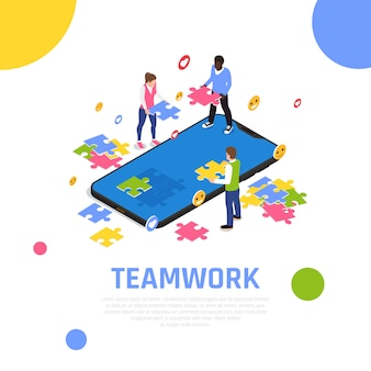 Teamwork collaboration isometric composition with putting jigsaw puzzle pieces together as team building activity exercise