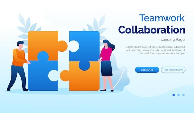 Teamwork collaboration landing page website illustration flat template