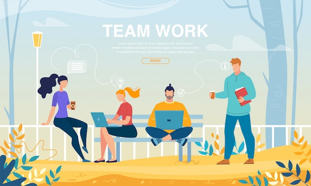 Teamwork and collaboration outdoors team meeting web template