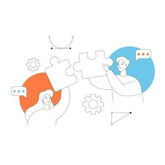 팀워크 협업. 손에 퍼즐 두 노동자입니다. 컨셉 일러스트입니다.