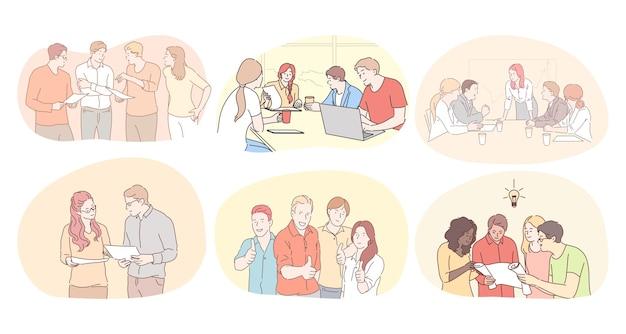 チームワーク、コミュニケーション、オフィスコンセプトのブレーンストーミング。ビジネスマンパートナーの同僚