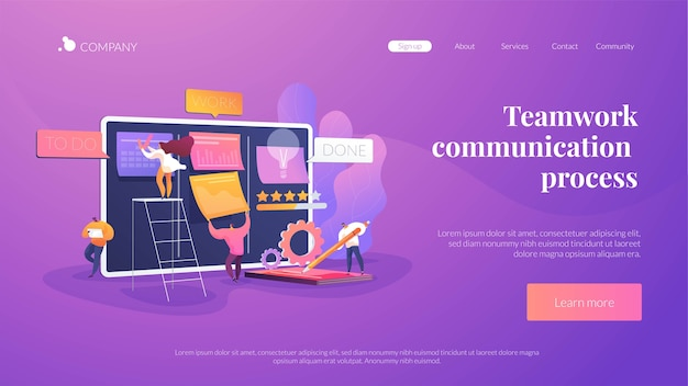 Teamwork communication process landing page template