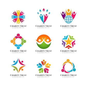 Teamwork and community logo template
