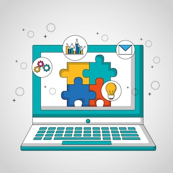 Teamwork computer with puzzle in screen