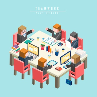 Teamwork concept 3d isometric infographic with businessman having a meeting