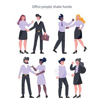 팀워크 개념. 악수하는 사업 사람들. 함께 일하고 성공을 향해 나아가는 기업인의 아이디어. 파트너십 및 협업. 요약