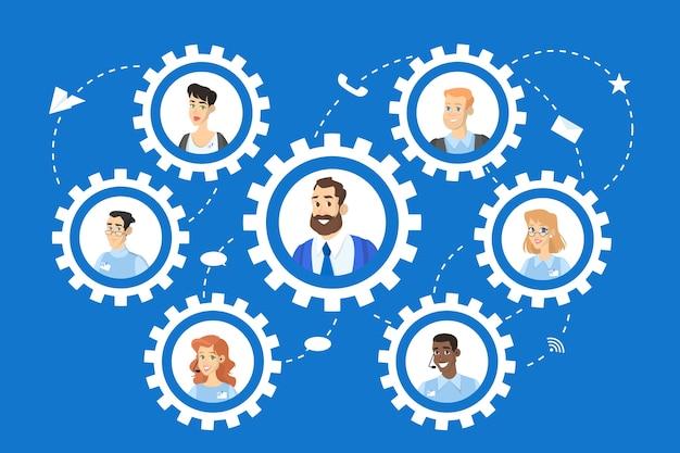 팀워크 개념. 비즈니스 사람들은 메커니즘의 기어로 팀에서 작동합니다. 리더가있는 직원. 만화 스타일에 고립 된 벡터 일러스트 레이 션