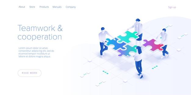 Концепция совместной работы. деловая команда, подбирая кусочки головоломки.