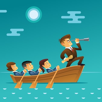 Teamwork concept. businessman with spyglass lead business team sailing on boat in the ocean. cartoon style