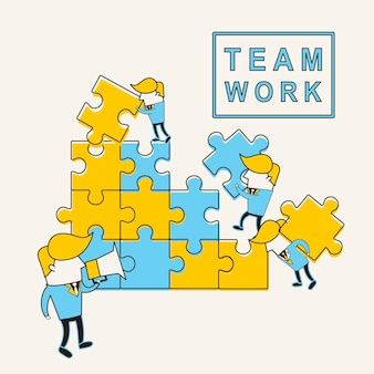 Teamwork concept: businessmen doing puzzle together in line style