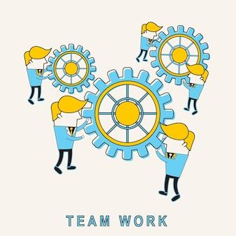 팀워크 개념: 선 스타일로 기어를 회전하는 기업인
