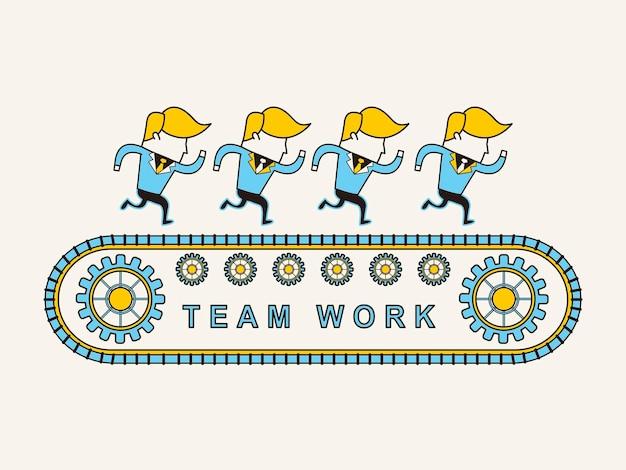 Teamwork concept: businessmen running together in line style
