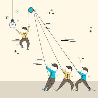 Teamwork concept: businessmen setting up a big lighting bulb in line style