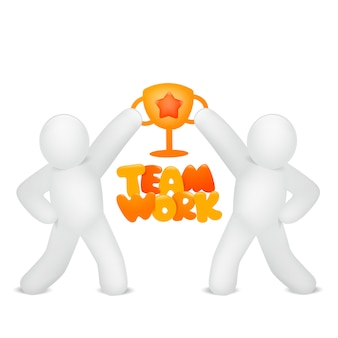 Teamwork concept card with two stickman characters holding golden cup