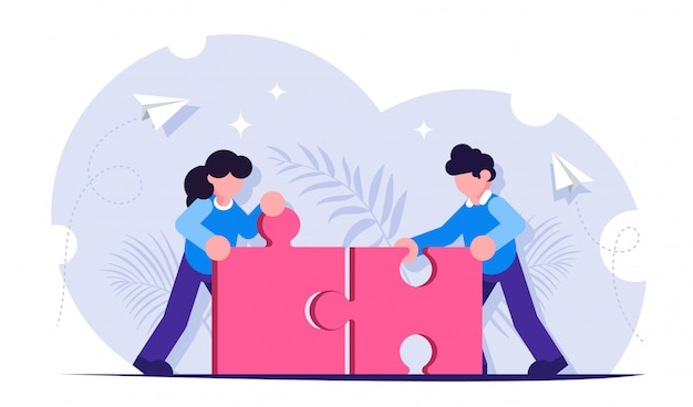 チームワークの概念。パズルの置物を共通の詳細に組み合わせる。人々は一緒に働きます。一緒に目標を達成する
