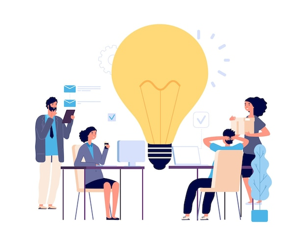Концепция совместной работы. творческая идея, иллюстрация вектора рабочего процесса. плоские деловые персонажи, мозговой штурм, реализация новой идеи. мужчины женщины работают. коллективная работа мозгового штурма, иллюстрация идеи