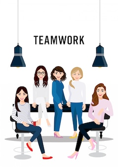 Teamwork concept design with female cartoon character standing, setting on the table and setting on the chair.