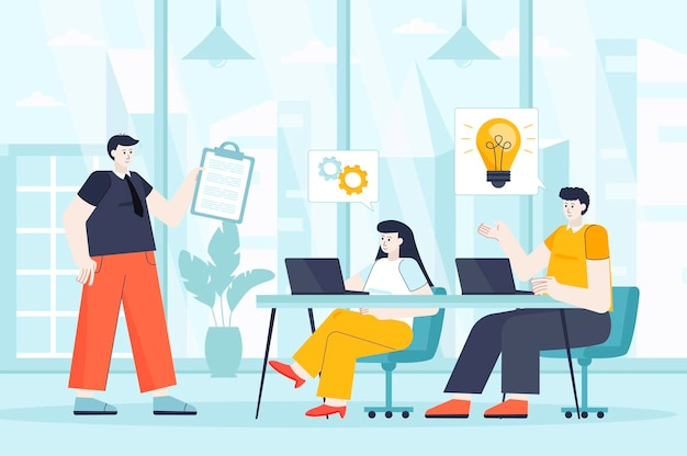 Teamwork concept in flat design illustration of people characters for landing page