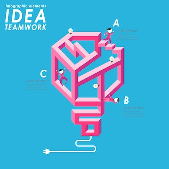 Teamwork concept flat design with people walking through complicated maze