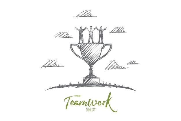 Концепция совместной работы. руки drawn мужчин и женщин, празднующих успех совместной работы. команда победителей и кубок изолированных иллюстрация.