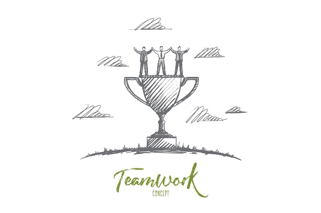 Teamwork concept. hand drawn men and women celebrating success teamwork. command of winners and cup isolated illustration.